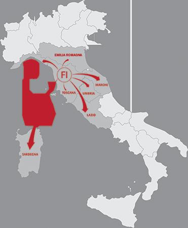 Cartina della copertura del territorio nazionale di Effe2